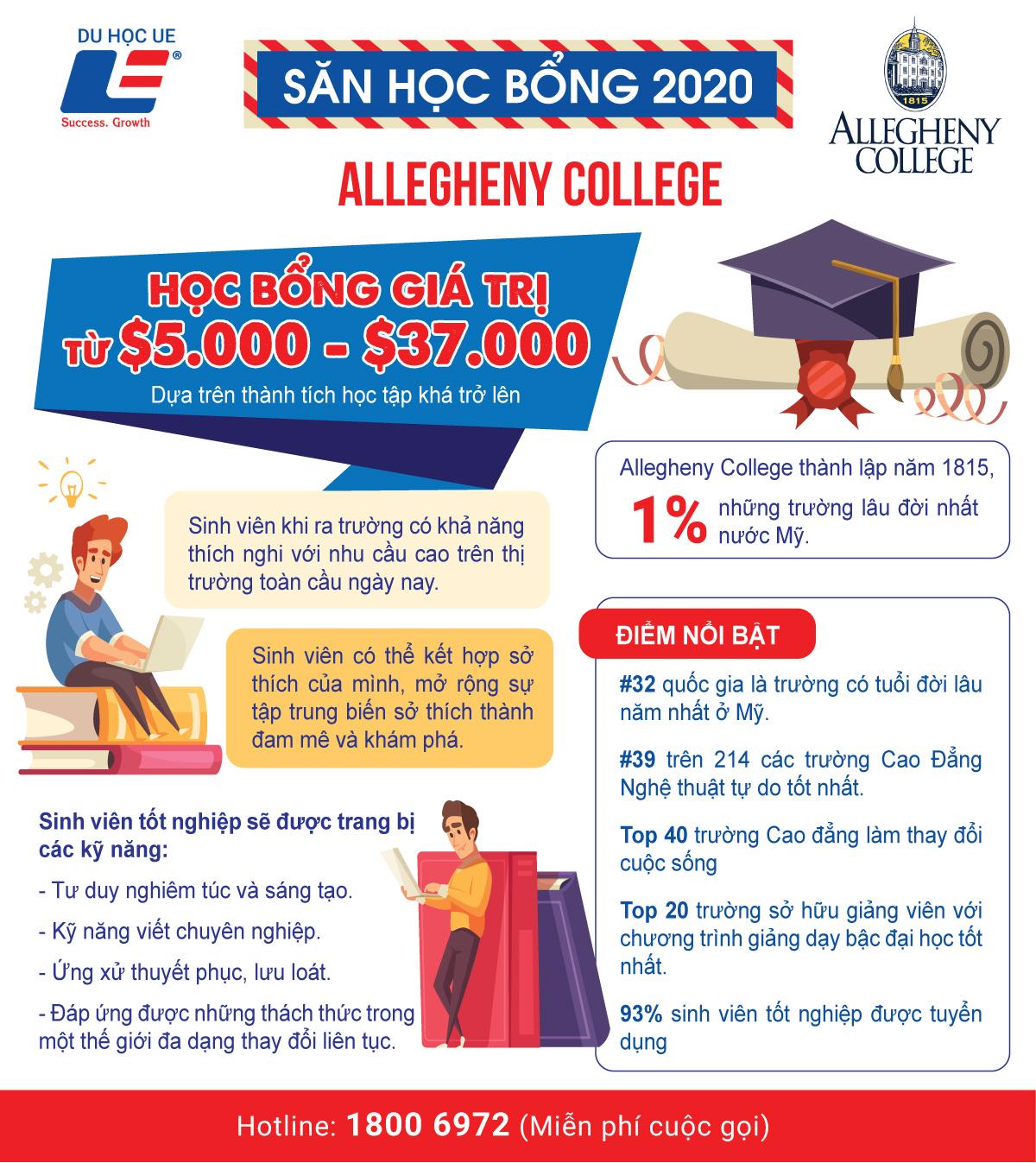 Cơ hội săn học bổng tại Allegheny College - Trường cao đẳng thuộc 1% những trường lâu đời nhất nước Mỹ