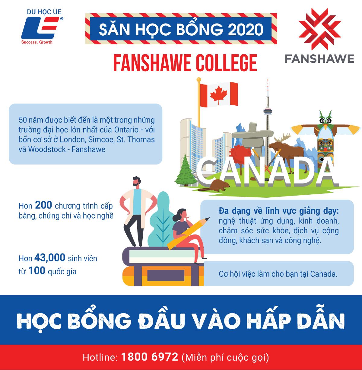 Cùng DU HỌC UE săn ngay các suất học bổng đầu vào hấp dẫn tại Fanshawe College - Trường cao đẳng cộng đồng xuất sắc tại Canada