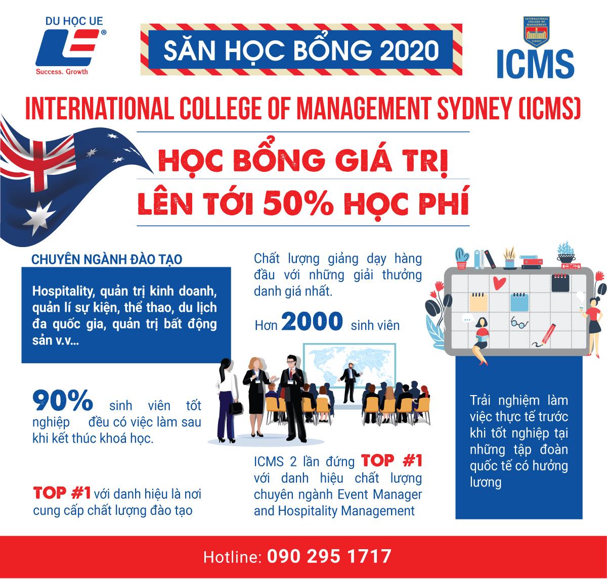 Học bổng bán phần ngành quản trị - kinh doanh tại ICMS