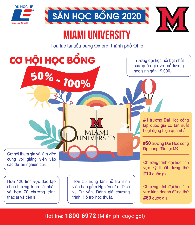 Miami University - Cơ hội học bổng bán phần đến toàn phần