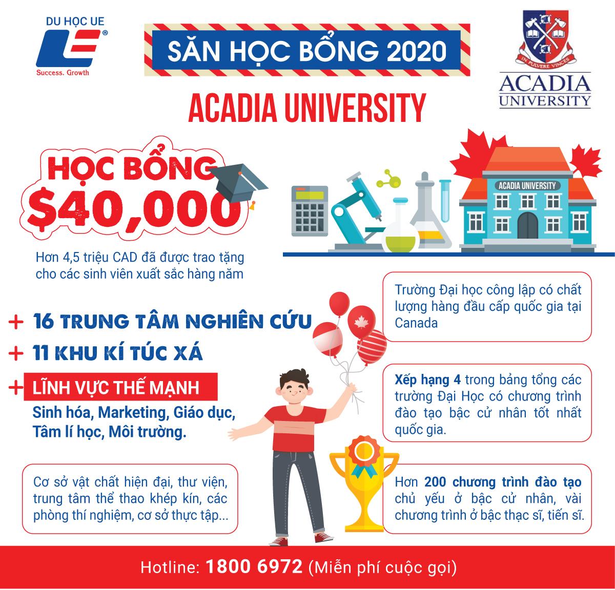 Nhanh tay ẵm học bổng 40.000 tại Acadia University