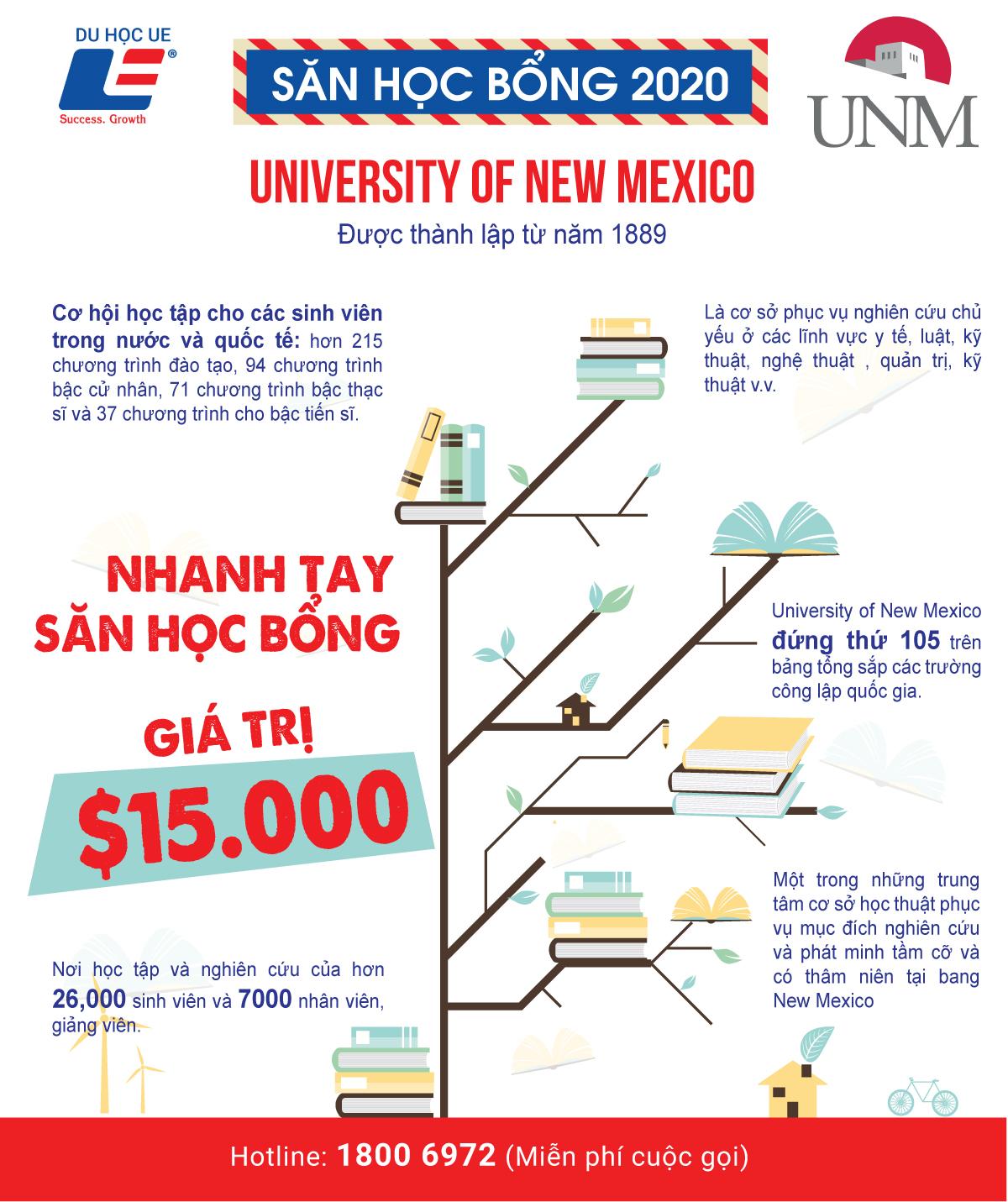 Nhanh tay săn học bổng giá trị 15.000 đô-la tại University Of New Mexico